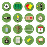 Les icônes du football du football ont placé la conception plate avec la longue ombre Images libres de droits