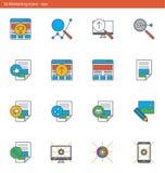 Les icônes du vecteur ENV ont placé - vente et publicité dans le style d'ensemble illustration stock