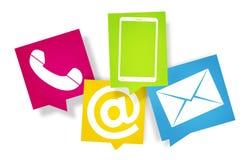 Les icônes fraîches 3d de conception colorées par contactez-nous rendent Image stock