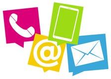 Les icônes fraîches 3d de conception colorées par contactez-nous rendent Photographie stock libre de droits