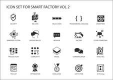 Les icônes futées d'usine aiment la sonde, rfid, processus de fabrication, automation, réalité augmentée illustration de vecteur