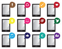 Les icônes futées de vecteur de téléphone avec des symboles d'Internet dans la parole bouillonne Photo libre de droits