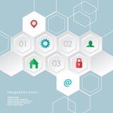 Les icônes hexagonales d'infographics de Web ont placé pour le site d'affaires, les présentations etc. Images stock