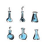 Les icônes illustrées de becher de vecteur ont placé, les pictogrammes médicaux Images stock