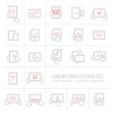 Les icônes linéaires de comprimé de vecteur ont placé avec des gestes et des pictogrammes de main Image stock