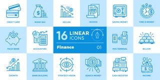Les icônes linéaires de vecteur ont placé des finances, encaissant Moderne de haute qualité Image libre de droits