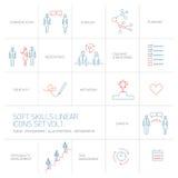 Les icônes linéaires et les pictogrammes de qualifications douces ont placé le bleu et le rouge Images stock