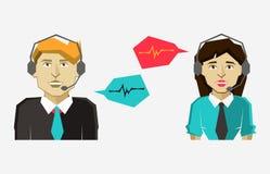 Les icônes masculines et femelles d'avatar de centre d'appels avec la parole bouillonne Photo libre de droits