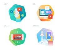 Les icônes matérielles de conception ont placé pour couler vivant, la radiodiffusion mobile, salaire par vue, vidéo en ligne, act Photographie stock