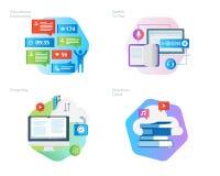 Les icônes matérielles de conception ont placé pour des apps d'éducation, mise en réseau, apprentissage en ligne, nuage d'éducati Photos libres de droits