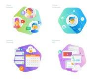 Les icônes matérielles de conception ont placé pour l'éducation en ligne, apps, salle de classe virtuelle, le réseau d'éducation, Image stock