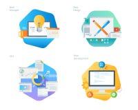 Les icônes matérielles de conception ont placé pour le web design et le développement, SEO, directeur de Web Images libres de droits