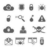 Les icônes noires de pirate informatique ont placé avec le ver de fente de virus d'insecte Images libres de droits