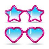 Les icônes ont placé des lunettes de soleil de silhouette et des verres médicaux de différentes formes Image libre de droits