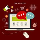 Les icônes ont placé du nuage calculant le media social analytique illustration de vecteur