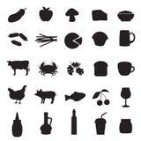 Les icônes ont placé du type différent de la nourriture et de boissons Photos stock