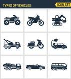 Les icônes ont placé la qualité de la meilleure qualité des types icône d'automobile de transport de voiture du trafic de véhicul Photo libre de droits