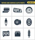 Les icônes ont placé la qualité de la meilleure qualité du garage des véhicules à moteur d'outils de pièces d'auto de réparation  Photo libre de droits