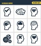 Les icônes ont placé la qualité de la meilleure qualité du processus d'esprit humain, des caractéristiques de cerveau et des émot Photos libres de droits