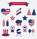 Les icônes ont placé le Jour de la Déclaration d'Indépendance de couleur de drapeau des Etats-Unis le 4ème juillet Photos stock