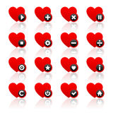Les icônes ont placé - les coeurs rouges et les boutons noirs Photos stock