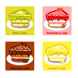 Les icônes ont placé avec les gâteaux doux colorés, éléments de vecteur Image stock