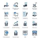 Les icônes personnelles et d'affaires de finances ont placé 2 - série bleue illustration libre de droits