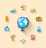 Les icônes plates d'ensemble du globe et du voyage vacation, style simple Images stock