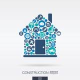 Les icônes plates dans une maison forment, construction, construction, industrie, architectural, machinant le concept Photographie stock libre de droits