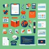Les icônes plates de concept d'illustration de conception ont placé des éléments fonctionnants d'affaires