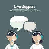 Les icônes plates de concept de service de soin de client professionnel réglées du contactez-nous soutiennent le clic d'appel tél Photographie stock libre de droits