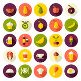 Les icônes plates de conception ont placé pour la nourriture et les boissons Photographie stock libre de droits