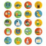 Les icônes plates de l'imprimante 3d ont placé pour la sculpture, la création des figurines et les souvenirs Photo stock