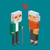 les icônes plates de la famille 3d de couples de concept isométrique de personnes aiment la date parenting ensemble la femme carr Image libre de droits