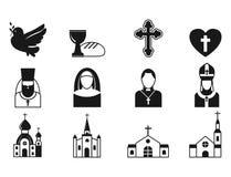 Les icônes plates de religion de christianisme dirigent l'illustration des personnes de prière de silhouette noire religieuse sai Photos libres de droits