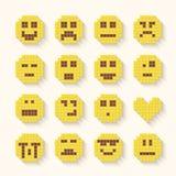 Les icônes plates de sourire de pixel ont placé avec l'effet d'ombre illustration stock