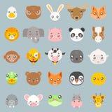 Les icônes plates de tête de conception de bébé d'animaux de petits animaux mignons de bande dessinée ont placé l'illustration de Image libre de droits