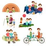 Les icônes plates de vecteur ont placé des caractères de famille campant, augmentant Photographie stock libre de droits