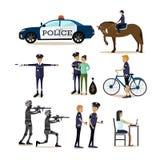 Les icônes plates de vecteur ont placé des caractères de profession de policier Image libre de droits