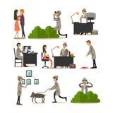 Les icônes plates de vecteur ont placé des caractères révélateurs de profession illustration de vecteur