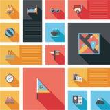 Les icônes plates de voyage dirigent l'ui avec la longue ombre Photo stock