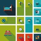 Les icônes plates de voyage dirigent l'ui avec la longue ombre Photos libres de droits
