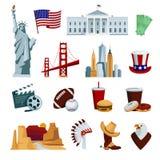 Les icônes plates des Etats-Unis ont placé avec des symboles nationaux et des attractions américains d'horizon illustration stock