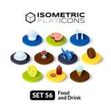 Les icônes plates isométriques ont placé 56 illustration stock