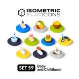Les icônes plates isométriques ont placé 59 Photos stock