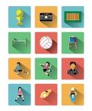Les icônes plates modernes de volleyball ont placé avec le long effet d'ombre Image stock