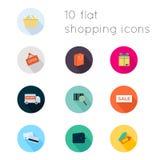 Les icônes plates modernes dirigent la collection avec le long effet d'ombre Photos libres de droits