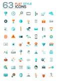 Les icônes plates modernes dirigent la collection avec le long effet d'ombre Images libres de droits
