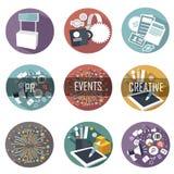 Les icônes plates modernes dirigent la collection d'objets de web design Photo libre de droits