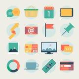 Les icônes plates modernes dirigent la collection, les objets de web design, les affaires, le bureau et les articles de vente. Photos libres de droits